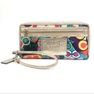 Coach Poppy Pop C Zip-Around Wallet Wristlet